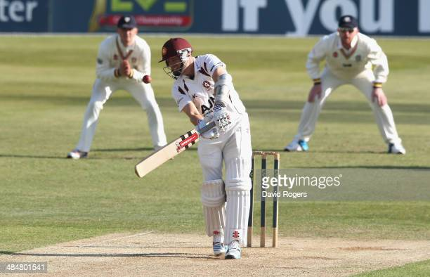 Stephen Peters of Northamptonshire edges the ball to Scott Borthwick in the slips off the bowling of Graham Onions during the second day of the LV...