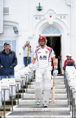 Stephen Peters of Northamptonshire walks out to bat during day two of the LV County Championship division one match between Nottinghamshire and...