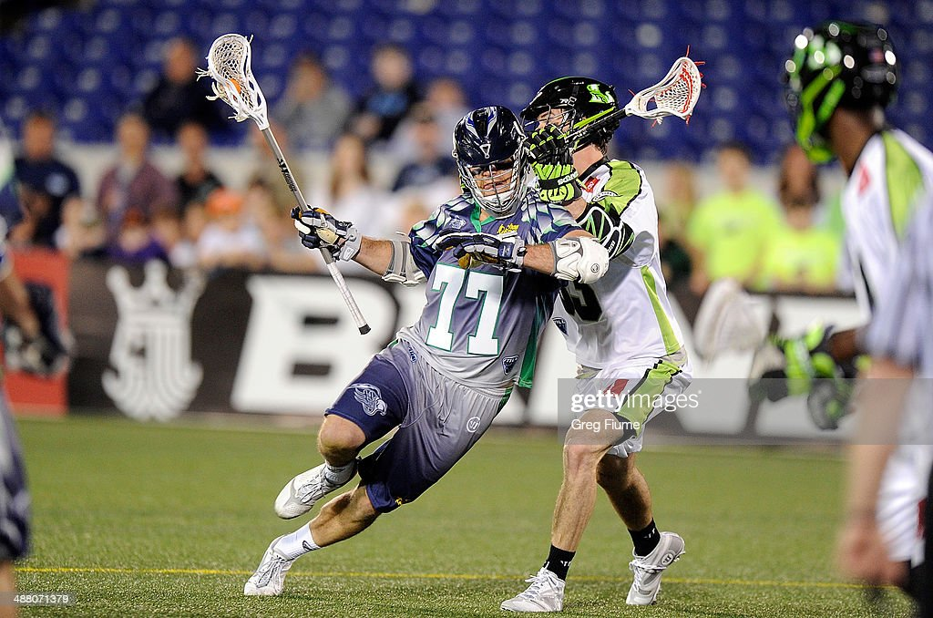 Stephen Peyser of the Chesapeake Bayhawks brings the ball down the field and scores the game winning goal in overtime against the New York Lizards at...