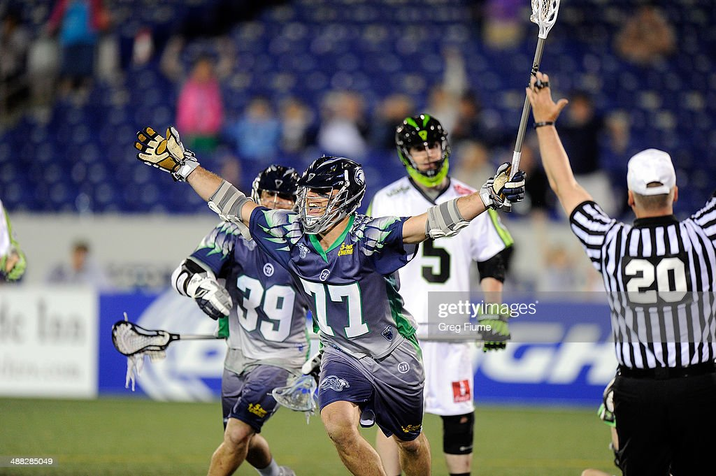Stephen Peyser of the Chesapeake Bayhawks celebrates after scoring the game winning goal in overtime against the New York Lizards at NavyMarine Corps...