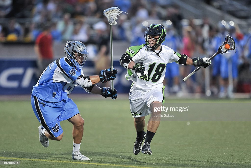Stephen Peyser of the New York Lizards controls the ball against the Ohio Machine on May 18 2013 at Selby Stadium in Delaware Ohio
