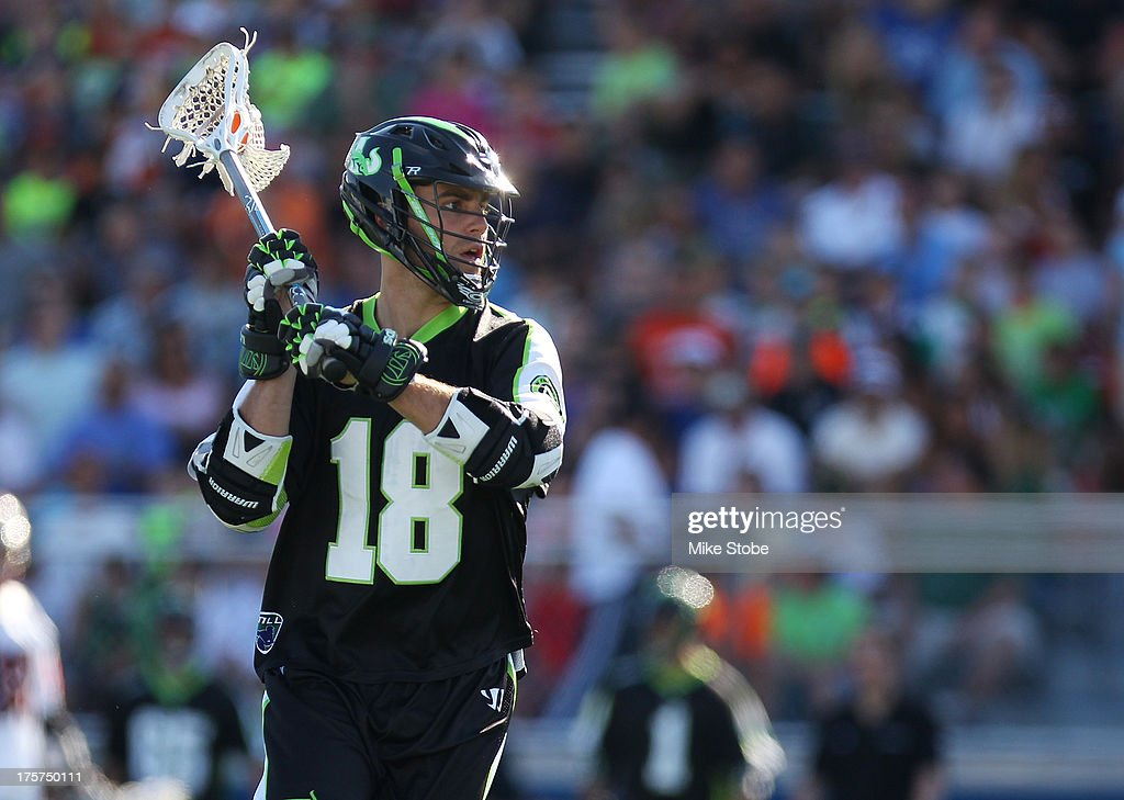Stephen Peyser of the New York Lizards in action against of the Denver Outlaws at James M Shuart Stadium on August 4 2013 in Hempstead New York...