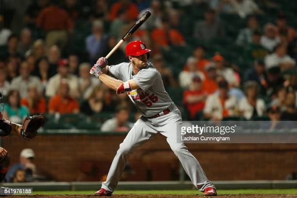 Stephen Piscotty of the St Louis Cardinals at bat in the eighth inning against the San Francisco Giants at ATT Park on August 31 2017 in San...