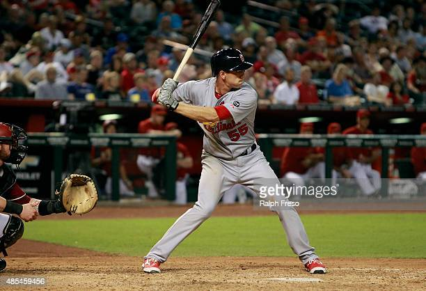 Stephen Piscotty of the St Louis Cardinals bats against the Arizona Diamondbacks during the ninth inning of a MLB game at Chase Field on August 26...