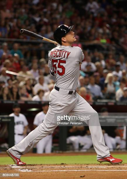 Stephen Piscotty of the St Louis Cardinals bats against the Arizona Diamondbacks during the MLB game at Chase Field on June 27 2017 in Phoenix Arizona