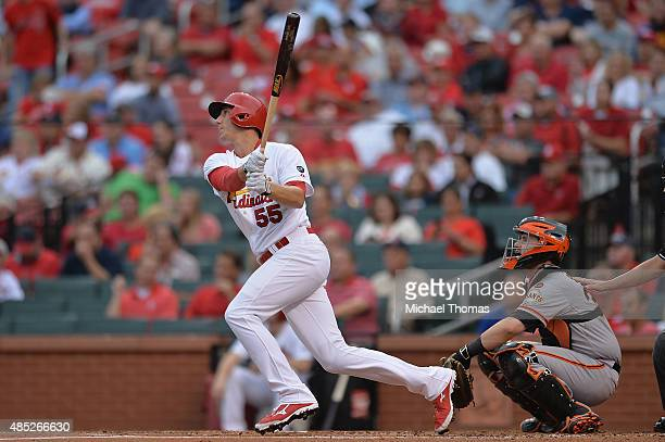 Stephen Piscotty of the St Louis Cardinals bats against the San Francisco Giants at Busch Stadium on August 19 2015 in St Louis Missouri