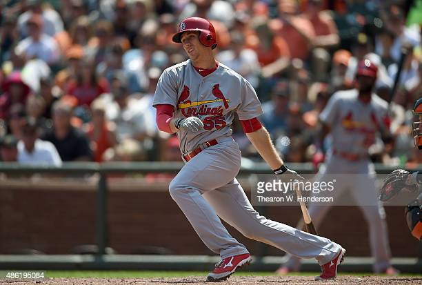 Stephen Piscotty of the St Louis Cardinals bats against the San Francisco Giants in the top of the fourth inning at ATT Park on August 30 2015 in San...