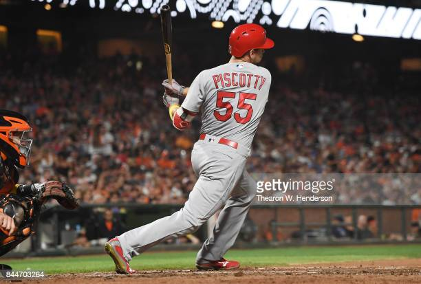 Stephen Piscotty of the St Louis Cardinals bats against the San Francisco Giants in the top of the fourth inning at ATT Park on September 1 2017 in...