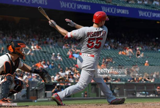 Stephen Piscotty of the St Louis Cardinals bats against the San Francisco Giants in the top of the tenth inning at ATT Park on September 2 2017 in...