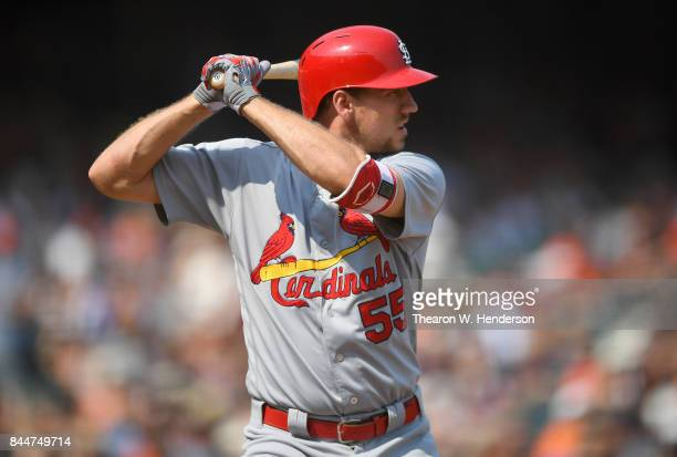 Stephen Piscotty of the St Louis Cardinals bats against the San Francisco Giants in the top of the seventh inning at ATT Park on September 3 2017 in...