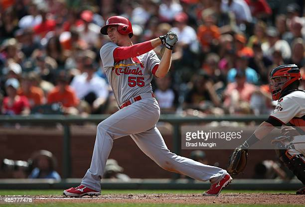 Stephen Piscotty of the St Louis Cardinals bats against the San Francisco Giants during the game at ATT Park on Saturday August 29 2015 in San...