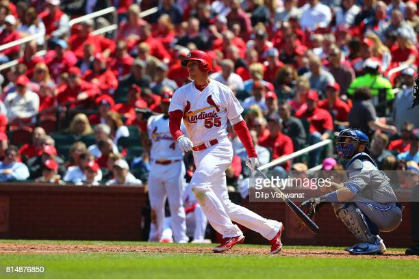 Stephen Piscotty of the St Louis Cardinals bats against the Toronto Blue Jays at Busch Stadium on April 27 2017 in St Louis Missouri