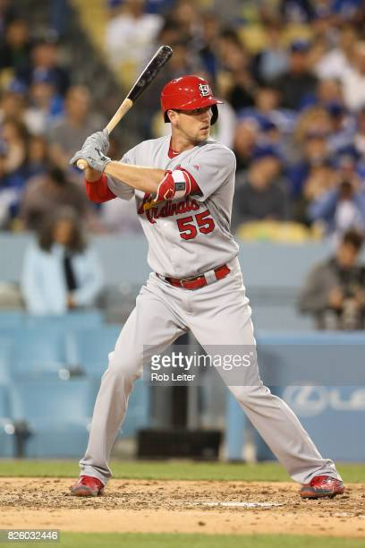 Stephen Piscotty of the St Louis Cardinals bats during the game against the Los Angeles Dodgers at Dodger Stadium on May 25 2017 in Los Angeles...