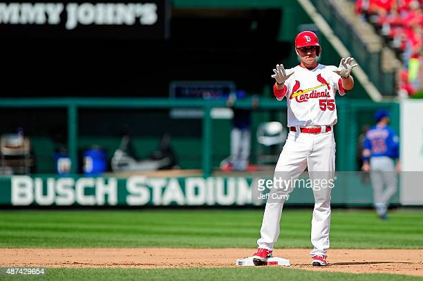 Stephen Piscotty of the St Louis Cardinals celebrates after hitting a game winning two run double against the Chicago Cubs during the eighth inning...