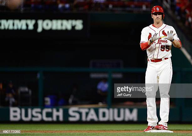 Stephen Piscotty of the St Louis Cardinals celebrates after hitting a double against the Milwaukee Brewers during the second inning at Busch Stadium...