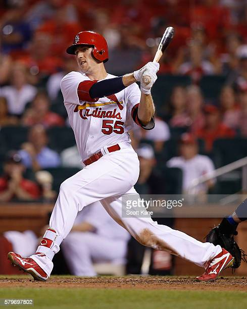 Stephen Piscotty of the St Louis Cardinals follows through on a tworun double during the seventh inning of a baseball game against the Los Angeles...