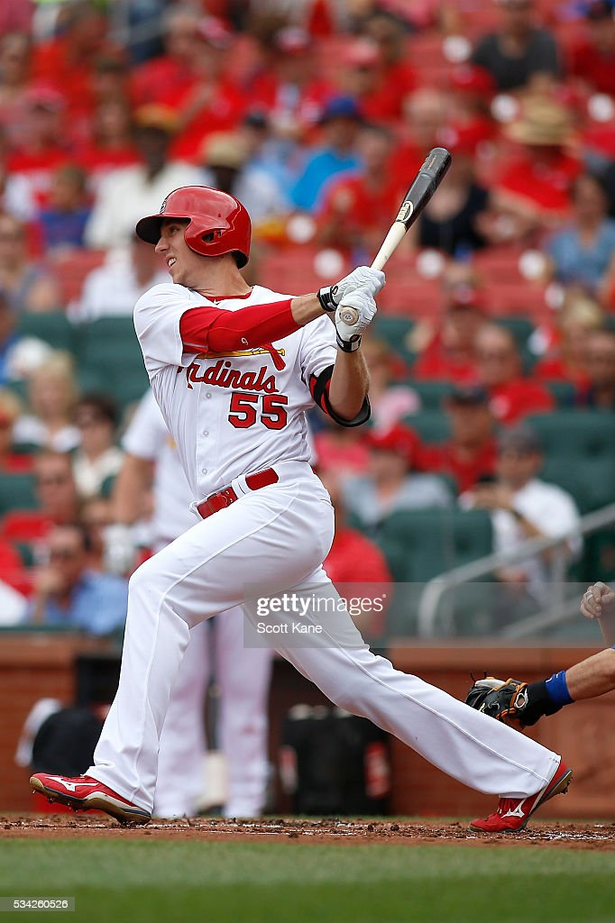 <a gi-track='captionPersonalityLinkClicked' href=/galleries/search?phrase=Stephen+Piscotty&family=editorial&specificpeople=12501069 ng-click='$event.stopPropagation()'>Stephen Piscotty</a> #55 of the St. Louis Cardinals follows through on a RBI single during the first inning against the Chicago Cubs at Busch Stadium on May 25, 2016 in St. Louis, Missouri.