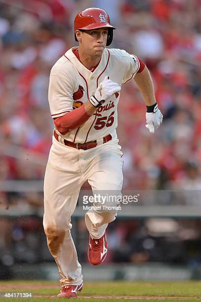 Stephen Piscotty of the St Louis Cardinals hits a double in the fourth inning against the Miami Marlins at Busch Stadium on August 15 2015 in St...