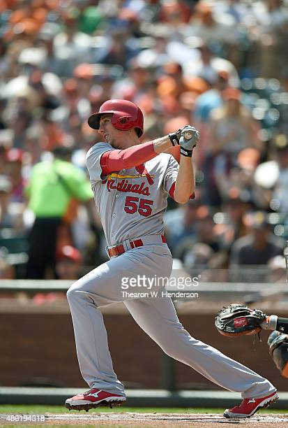 Stephen Piscotty of the St Louis Cardinals hits a single against the San Francisco Giants in the top of the first inning at ATT Park on August 30...