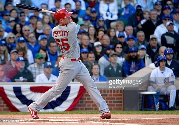 Stephen Piscotty of the St Louis Cardinals hits a tworun home run in the top of the first inning of Game 4 of the NLDS against the Chicago Cubs at...