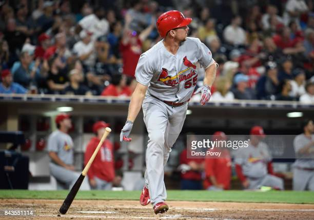 Stephen Piscotty of the St Louis Cardinals hits a tworun home run during the seventh inning of a baseball game against the San Diego Padres at PETCO...