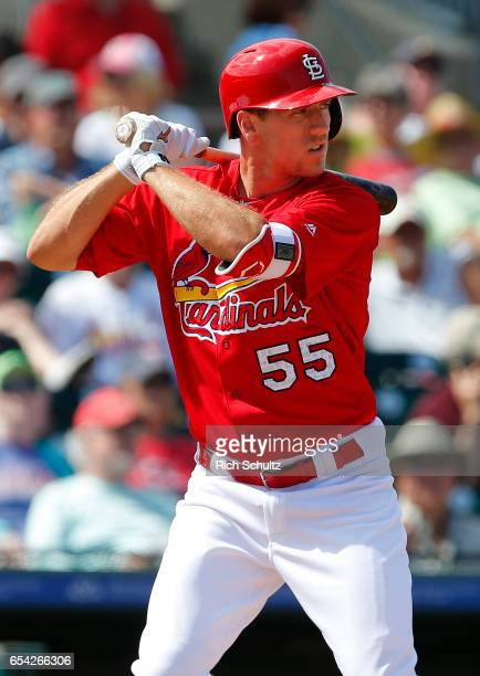 Stephen Piscotty of the St Louis Cardinals in action against the Houston Astros during a spring training game at Roger Dean Stadium on March 9 2017...