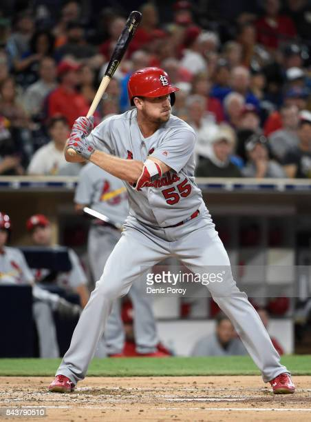 Stephen Piscotty of the St Louis Cardinals plays during a baseball game against the San Diego Padres at PETCO Park on September 5 2017 in San Diego...