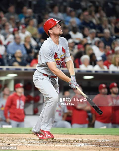 Stephen Piscotty of the St Louis Cardinals plays during a baseball game against the San Diego Padres at PETCO Park on September 6 2017 in San Diego...