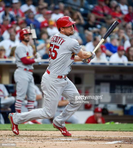 Stephen Piscotty of the St Louis Cardinals plays during a baseball game against the San Diego Padres at PETCO Park on September 7 2017 in San Diego...