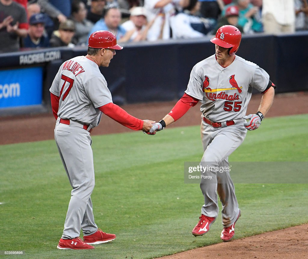Stephen Piscotty 55 Of The St Louis Cardinals Right Is Congratulated By