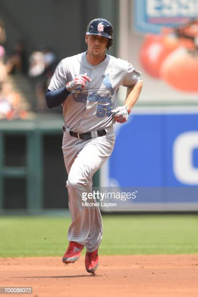 Stephen Piscotty of the St Louis Cardinals rounds the bases after hitting a home run during a baseball game against the Baltimore Orioles at Oriole...