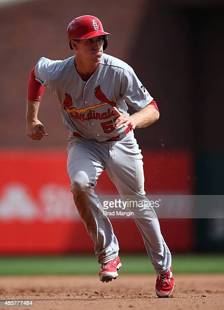 Stephen Piscotty of the St Louis Cardinals runs the bases against the San Francisco Giants during the game at ATT Park on Saturday August 29 2015 in...