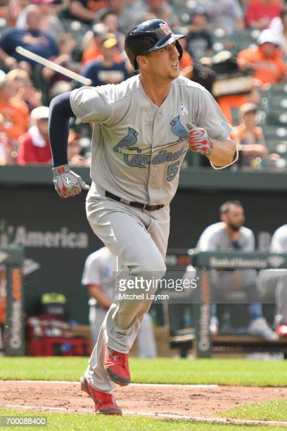 Stephen Piscotty of the St Louis Cardinals runs to first base during a baseball game against the Baltimore Orioles at Oriole Park at Camden Yards on...