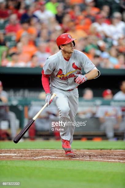 Stephen Piscotty of the St Louis Cardinals runs towards first base against the Baltimore Orioles at Oriole Park at Camden Yards on June 16 2017 in...