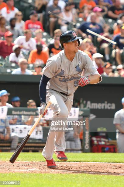 Stephen Piscotty of the St Louis Cardinals takes a swing during a baseball game against the Baltimore Orioles at Oriole Park at Camden Yards on June...
