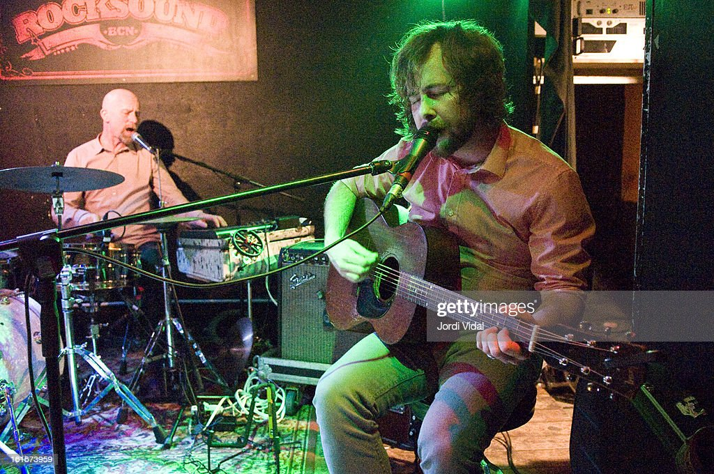 Stephen Pitkin and Casey Laforet of Elliott Brood perform on stage at Razzmatazz on February 13, 2013 in Barcelona, Spain.