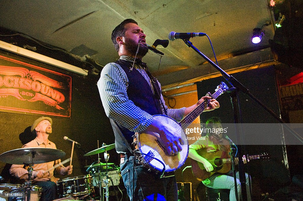 Stephen Pitkin, Marc Sasso and Casey Laforet of Elliott Brood perform on stage at Razzmatazz on February 13, 2013 in Barcelona, Spain.