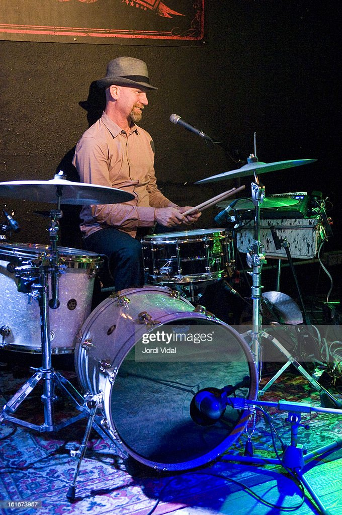 Stephen Pitkin of Elliott Brood performs on stage at Razzmatazz on February 13, 2013 in Barcelona, Spain.