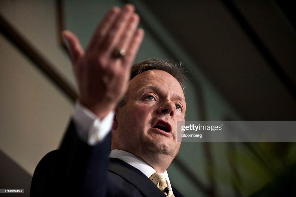 Stephen Poloz, governor of the Bank of Canada, delivers his first speech as governor at the Oakville Chamber of Commerce luncheon in Burlington, Ontario, Canada, on Wednesday, June 19, 2013. Poloz said the nation will need a rebound in business confidence to drive growth in coming years, a process that will require 'stability and patience.' Photographer: Galit Rodan/Bloomberg via Getty Images