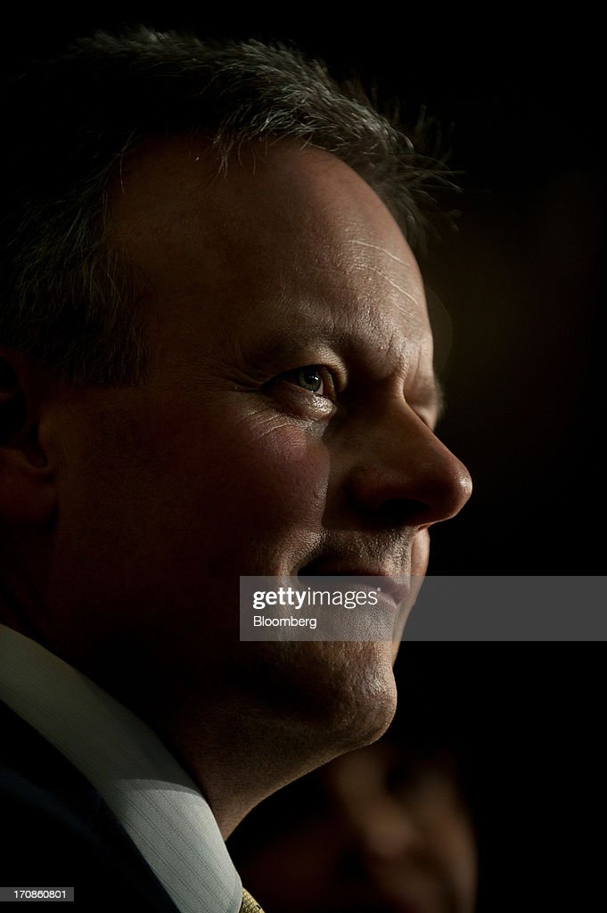 Stephen Poloz, governor of the Bank of Canada, smiles as he delivers his first speech as governor at the Oakville Chamber of Commerce luncheon in Burlington, Ontario, Canada, on Wednesday, June 19, 2013. Poloz said the nation will need a rebound in business confidence to drive growth in coming years, a process that will require 'stability and patience.' Photographer: Galit Rodan/Bloomberg via Getty Images