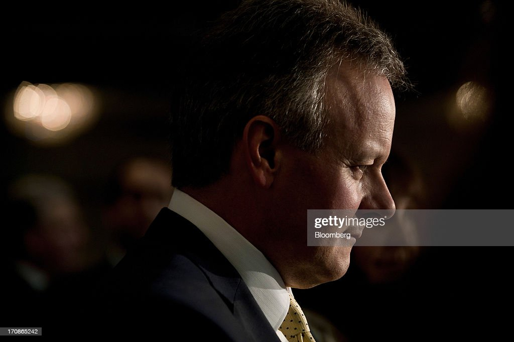 <a gi-track='captionPersonalityLinkClicked' href=/galleries/search?phrase=Stephen+Poloz&family=editorial&specificpeople=10846368 ng-click='$event.stopPropagation()'>Stephen Poloz</a>, governor of the Bank of Canada, smiles as he delivers his first speech as governor at the Oakville Chamber of Commerce luncheon in Burlington, Ontario, Canada, on Wednesday, June 19, 2013. Poloz said the nation will need a rebound in business confidence to drive growth in coming years, a process that will require 'stability and patience.' Photographer: Galit Rodan/Bloomberg via Getty Images