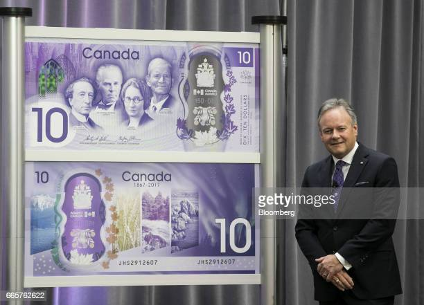 Stephen Poloz governor of the Bank of Canada stands after unveiling a commemorative $10 note at Bank of Canada headquarters in Ottawa Ontario Canada...