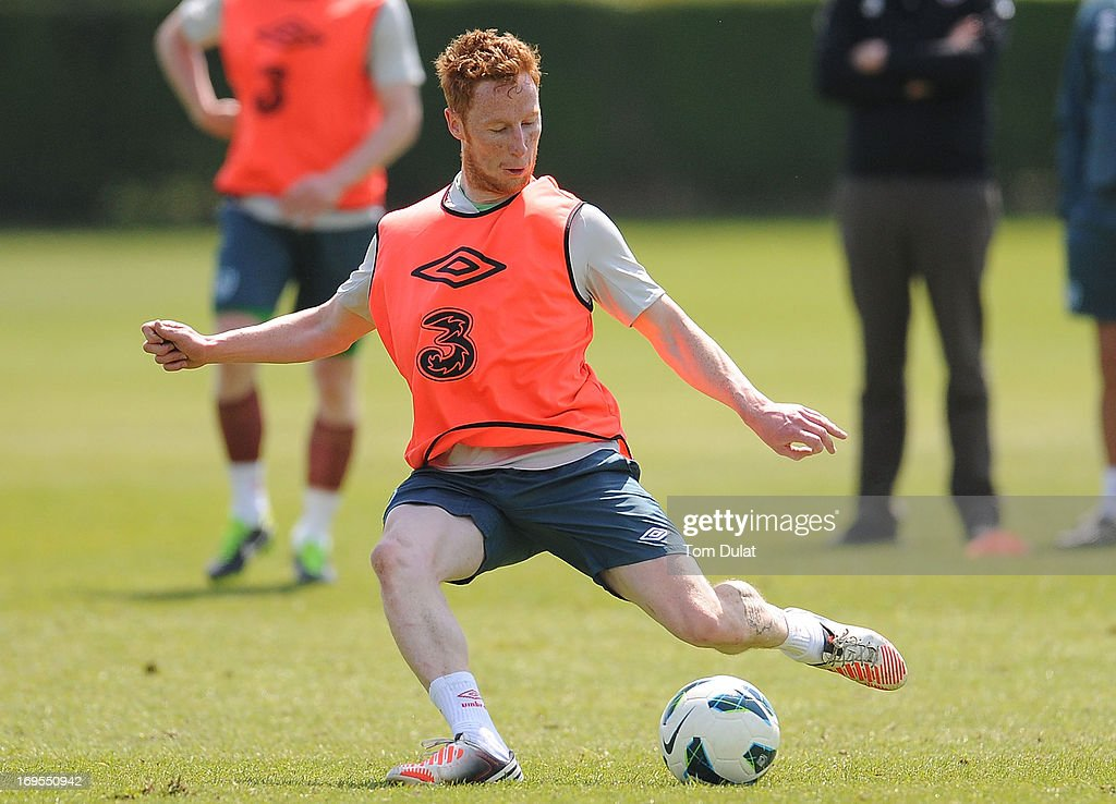 Stephen Quinn in action during the Ireland training session at Watford FC Training Ground on May 27, 2013 in London Colney, England.