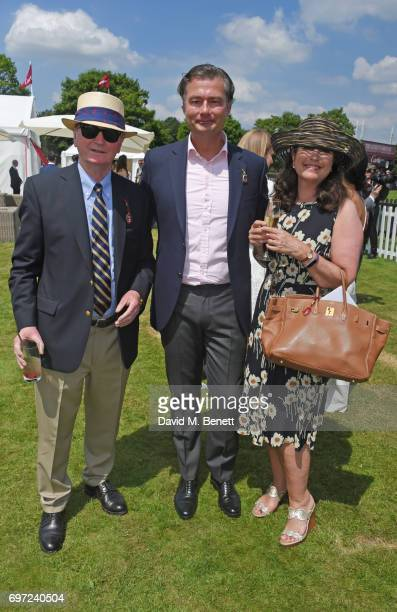 Stephen Quinn Laurent Feniou and Kimberly Quinn attend the Cartier Queen's Cup Polo final at Guards Polo Club on June 18 2017 in Egham England