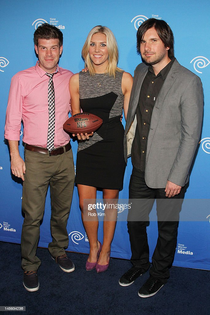 Stephen Rannazzisi, Charissa Thompson and Jon Lajoie attend the Time Warner Cable Media 'Cabletime' Upfront at Yotel Hotel on June 7, 2012 in New York City.