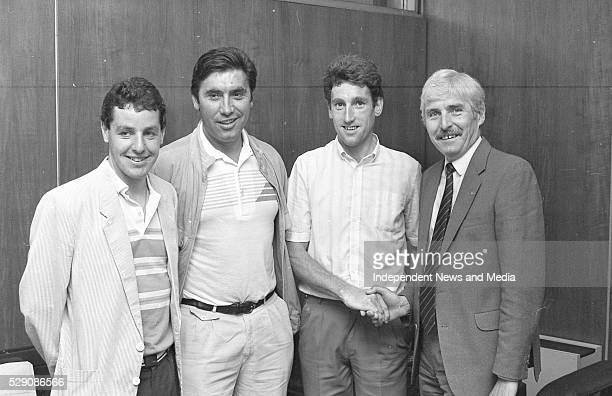 Stephen Roche Eddie Merck and Sean Kelly with Sean Leask 14/8/1984