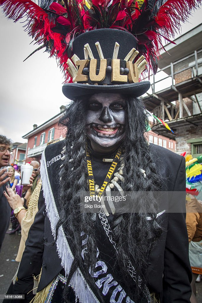 Stephen Rue costumed outside Lafitte's Blacksmith Shop Bar on Bourbon Street in the historic French Quarter on Mardi Gras Day on February 12, 2013 in New Orleans, Louisiana.