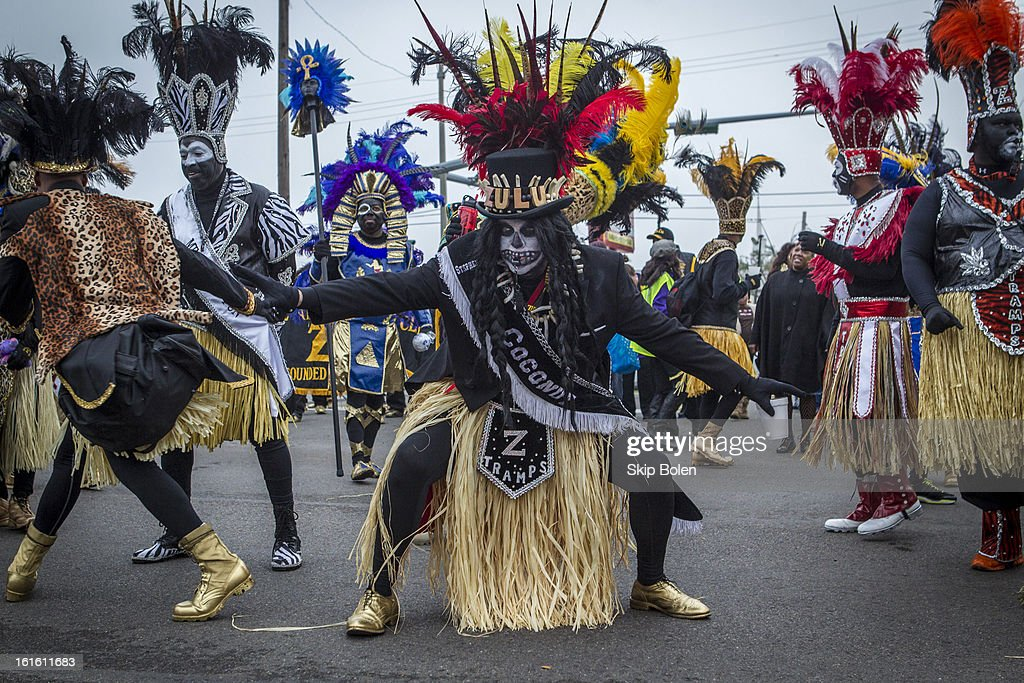 Stephen Rue gets ready to march in the Zulu Social Aid & Pleasure Club's 'Zulu Parade' on Jackson Avenue, the first parade on the morning of 2013 Mardi Gras on February 12, 2013 in New Orleans, Louisiana.