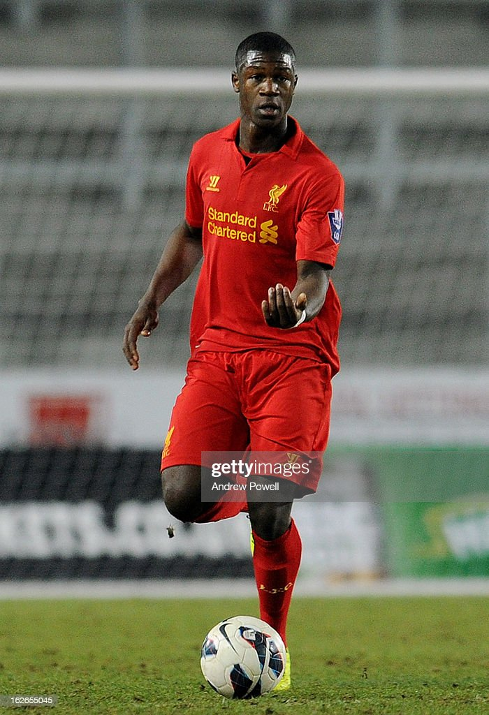 Stephen Sama of Liverpool in action during the Barclays Premier Reserve League match between Liverpool Reserves and Manchester United at Langtree Park on February 25, 2013 in St Helens, England.