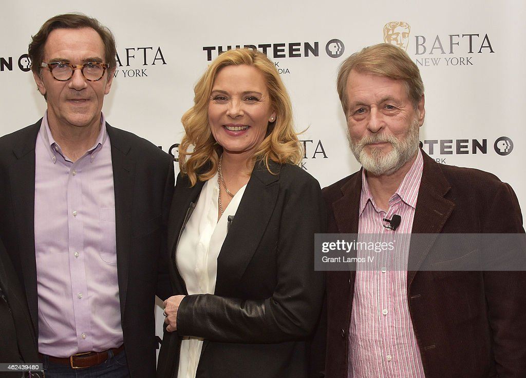 Stephen Segaller, Kim Cattrall, and Richard Denton attend the 'Shakespeare Uncovered' premiere at The Players Club on January 28, 2015 in New York City.